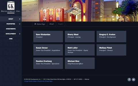 Screenshot of Team Page gkdevelopment.com - Our People | GK Development, Inc. - captured Jan. 23, 2016