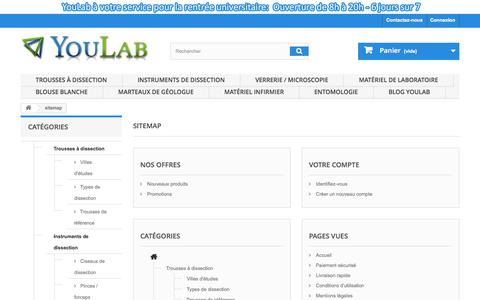 Screenshot of Site Map Page youlab.fr - Plan du site - YouLab - captured Oct. 9, 2014
