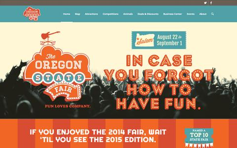 Screenshot of Home Page oregonstatefair.org - Home - Oregon State Fair - captured Sept. 19, 2014