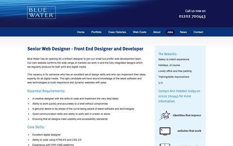 Screenshot of Jobs Page bluewaterweb.co.uk - Blue Water   Web Design Company   SEO   Digital Marketing Agency - Jobs - captured Oct. 21, 2018