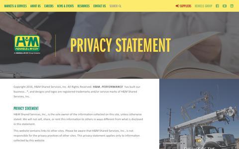 Screenshot of Privacy Page henkels.com - Privacy Statement | Henkels & McCoy - captured Aug. 3, 2017
