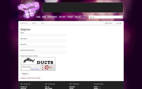 Screenshot of Signup Page trancepodium.com - TrancePodium - captured Sept. 22, 2014
