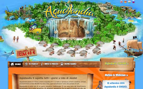 Screenshot of Home Page aqualandia.it - Aqualandia Jesolo - Il Parco acquatico N.1 in Italia vicino a Venezia - captured Sept. 19, 2014