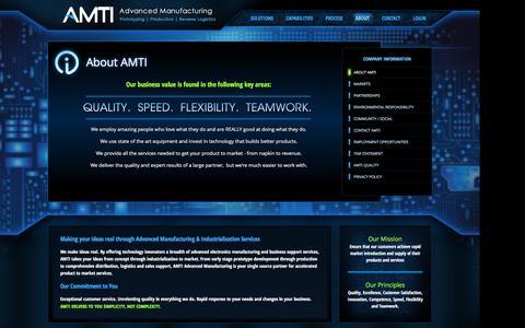 Screenshot of About Page advmanufacturing.com - AMTI - About AMTI - captured Nov. 20, 2016
