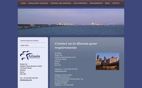 Screenshot of Contact Page artaoisconsulting.com - Contact - Artaois Ltd.  Energy Market Experts for Strategic Solutions, - captured Oct. 4, 2014
