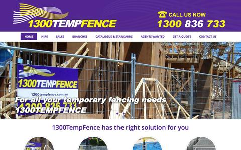 Screenshot of Home Page 1300tempfence.com.au - Temporary Fencing Hire & Sales | 1300TempFence - captured Oct. 7, 2014