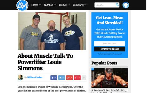 Screenshot of About Page about-muscle.com - About Muscle Talk To Powerlifter Louie Simmons - About Muscle - captured July 24, 2016