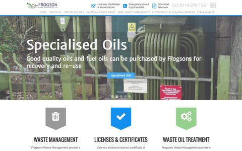 Screenshot of Home Page frogsons.co.uk - Waste Management Services | Oil, Chemical, Paint, Spill Management - captured Sept. 11, 2015