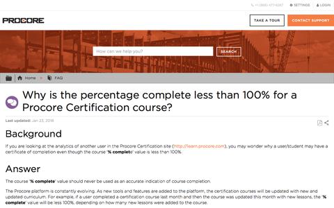 Why is the percentage complete less than 100% for a Procore Certification course? - Procore
