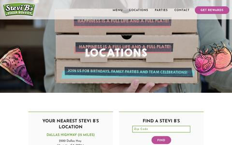Screenshot of Locations Page stevibs.com - Locations - Stevi B's Pizza Buffet - captured Oct. 25, 2017