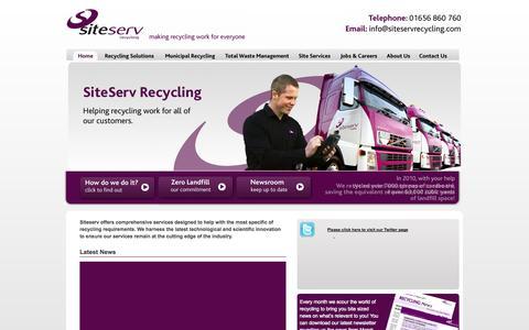 Screenshot of Home Page siteservrecycling.com - Recycling in Wales - SiteServ - Making Recycling Work for Everyone. - captured Sept. 30, 2014