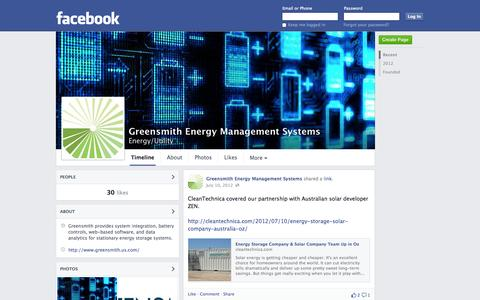 Screenshot of Facebook Page facebook.com - Greensmith Energy Management Systems | Facebook - captured Oct. 23, 2014