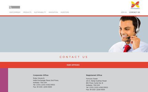 Screenshot of Contact Page himadri.com - Contact Us - Himadri - captured Sept. 29, 2018