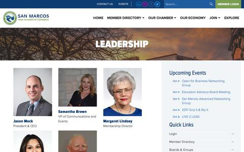 Screenshot of Team Page sanmarcostexas.com - Leadership – San Marcos Chamber of Commerce - captured Oct. 4, 2017