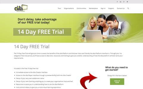 Screenshot of Trial Page ditasolutions.com.au - Free Training Software Trial | Create Online Training - captured Sept. 30, 2014