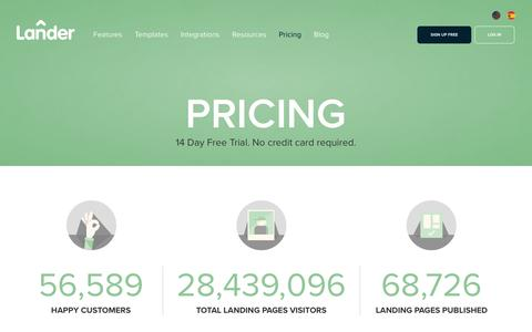 Screenshot of Pricing Page landerapp.com - Lander Pricing: 14 Day Free Trial. Create unlimited landing pages - captured June 29, 2016