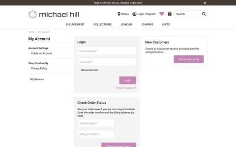 Screenshot of Login Page michaelhill.com - Account Login | Michael Hill US - captured Aug. 20, 2019