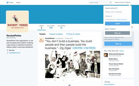 Screenshot of Twitter Page twitter.com - RocketPerks (@rocketperks) | Twitter - captured Oct. 14, 2015