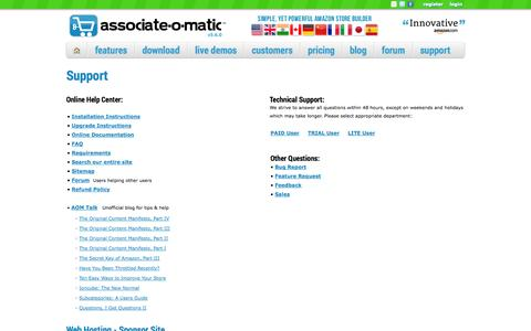 Screenshot of Support Page associate-o-matic.com - Associate-O-Matic | Support - captured Sept. 23, 2014
