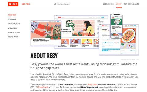 Screenshot of About Page resy.com - About Resy - captured April 17, 2018