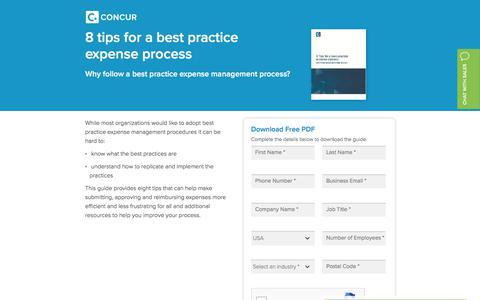 Screenshot of Landing Page concur.com - 8 tips for a best practice expense process  - Concur - captured Sept. 29, 2017
