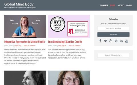Screenshot of Blog globalmindbody.org - Blog | Global Mind Body - captured Dec. 10, 2015