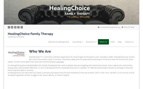 Screenshot of About Page healingchoice.org - About | HealingChoice Family Therapy - captured Sept. 27, 2018