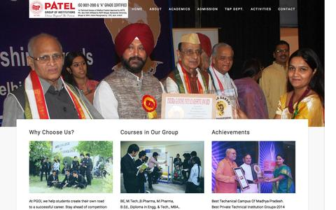 Screenshot of Home Page patelcollege.com - PGOI : Patel Group of Institutions, Bhopal, Indore, Madhya Pradesh - captured Sept. 21, 2015