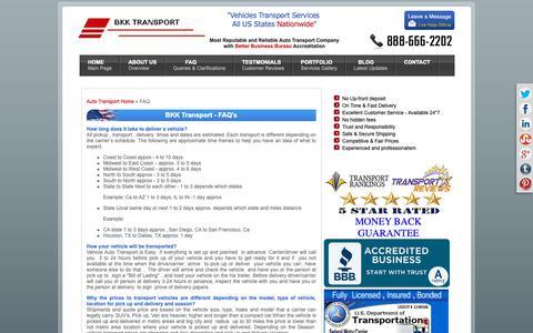 Screenshot of FAQ Page bkktransport.com - Car Shipping FAQs - Auto Transport Quotes At BKK Transport & Brokerage - captured Oct. 4, 2018