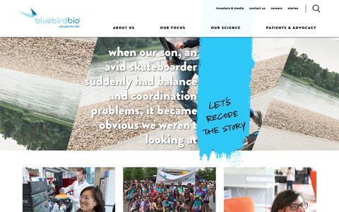 Screenshot of Home Page bluebirdbio.com - home - captured May 31, 2019