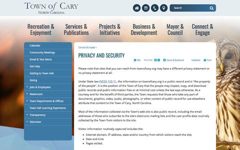 Screenshot of Privacy Page townofcary.org - Privacy and Security   Town of Cary - captured Oct. 30, 2017