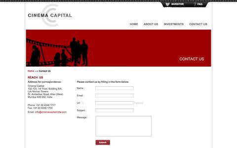 Screenshot of Contact Page cinemacapitalindia.com - Contact Us | Cinema Capital - captured Oct. 2, 2014