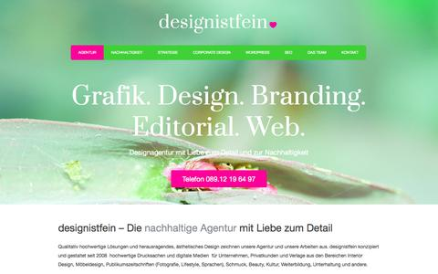 Screenshot of Home Page designistfein.de - Agentur Corporate Design | Editorial Design | Wordpress | SEO München | - captured Sept. 30, 2014