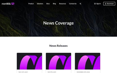 Screenshot of Press Page memsql.com - MemSQL News Coverage - captured Aug. 14, 2019