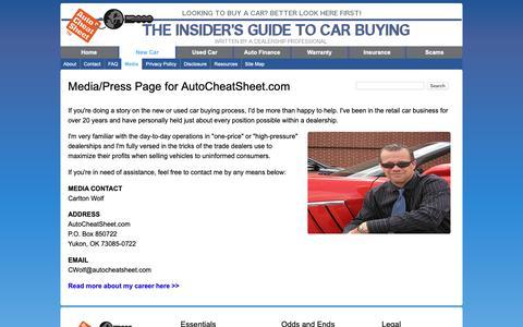 Screenshot of Press Page autocheatsheet.com - Media\Press Page for AutoCheatSheet.com - captured Oct. 18, 2018