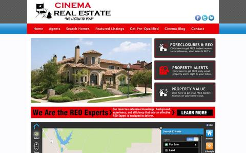 Screenshot of Home Page cinemarealestate.com - Cinema Real Estate - captured Oct. 1, 2014
