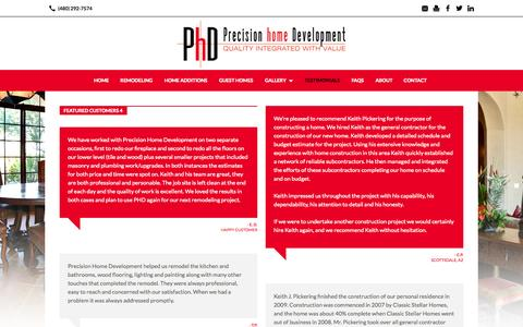 Screenshot of Testimonials Page phdhomes.com - Testimonials | Precision Home Development - captured Oct. 2, 2014