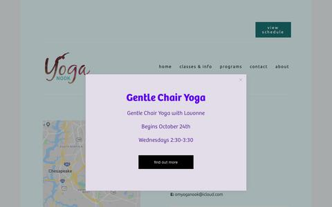 Screenshot of Contact Page chesapeakeyoganook.com - Contact — Yoga Nook - captured Oct. 23, 2018
