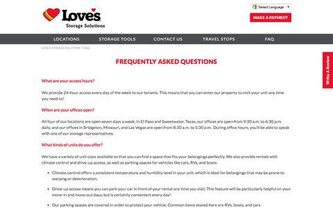 Screenshot of FAQ Page lovesstorage.com - FAQ | Love's Storage Solutions - captured May 8, 2017