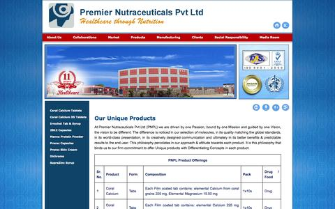 Screenshot of Products Page pnpl.co.in - Premier Nutraceuticals Pvt. Ltd. - captured Oct. 2, 2014