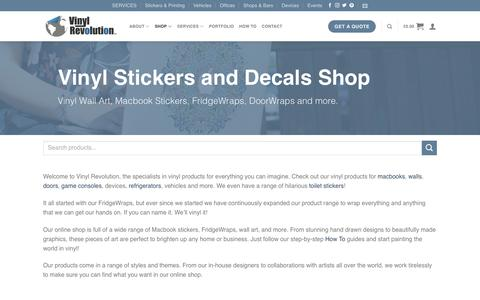 Screenshot of Products Page vinylrevolution.co.uk - Vinyl Stickers, Decals and Wall Art Shop | Vinyl Revolution - captured March 30, 2018