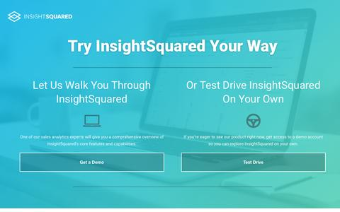 Screenshot of Trial Page insightsquared.com - Try InsightSquared Your Way - captured May 27, 2016