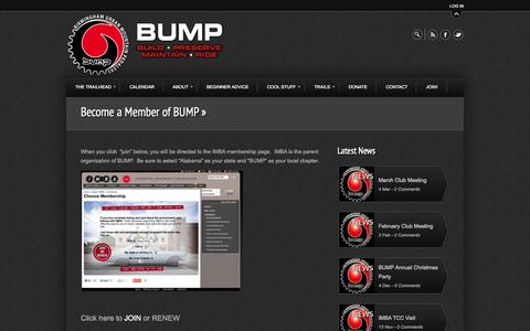 Screenshot of Signup Page bump.org - Become a Member of BUMP »  BUMP - captured Oct. 5, 2014