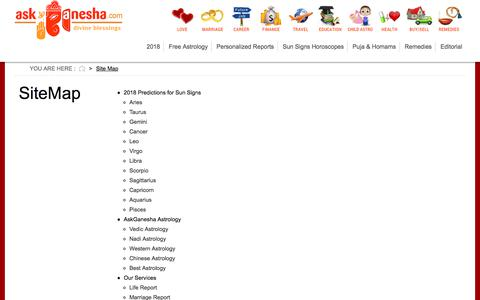 Screenshot of Site Map Page askganesha.com - Site Map | AskGanesha.com - captured Sept. 25, 2018