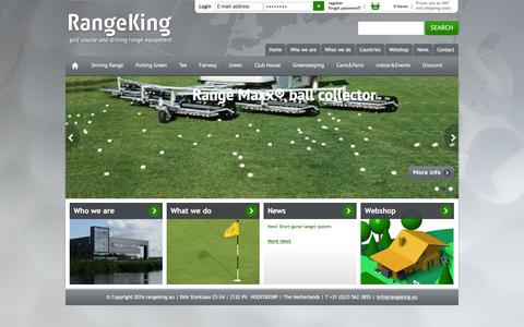 Screenshot of Home Page rangeking.eu - Welcome to Range King - Golf course and driving range equipment - captured March 4, 2016