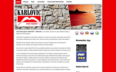 Screenshot of Home Page karlovic.hr - Karlović Nekretnine - Makarska - captured Oct. 6, 2014