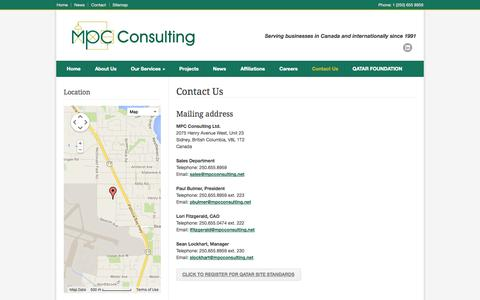 Screenshot of Contact Page mpcconsulting.net - MPC Consulting Ltd. – Contact Us - captured Oct. 4, 2014
