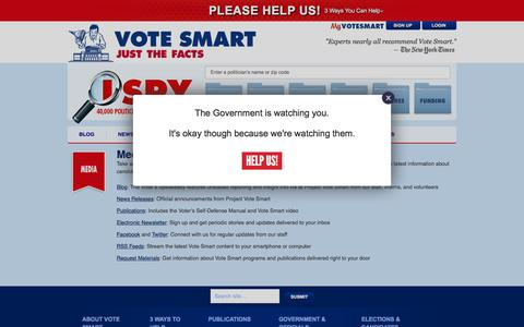 Screenshot of Press Page votesmart.org - Publications - The Voter's Self Defense System - Vote Smart - captured Oct. 28, 2015