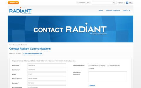 Screenshot of Contact Page radiant.net - Contact Us | Radiant Communications | Canada - captured Nov. 4, 2014