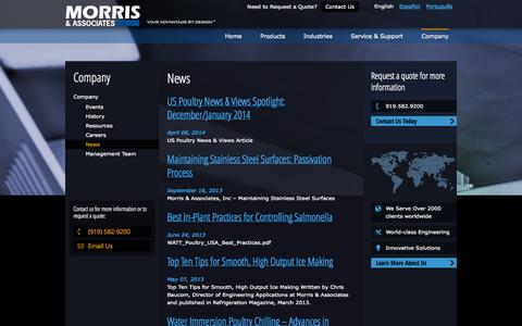 Screenshot of Press Page morris-associates.com - PressReleases  Morris & AssociatesMorris & Associates   Ice Production   Poultry Chilling   Guides - captured Oct. 26, 2014